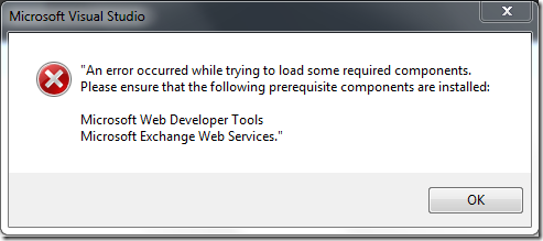 An error occurred while trying to load some required components. Please ensure that the following prerequisite components are installed